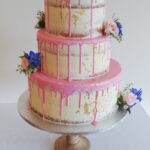 semi naked drip icing cake